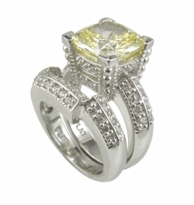 Cushion Cut 7 Carat Cubic Zirconia Decadence Wedding Set with Contoured Band