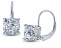 Cushion Cut Cubic Zirconia Leverback Euro Wire Earrings