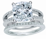 Britney Cushion Cut Cubic Zirconia Micro Pave Split Shank Wedding Sets
