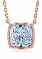 Cushion Cut Square Bezel Set Cubic Zirconia Solitaire Pendants