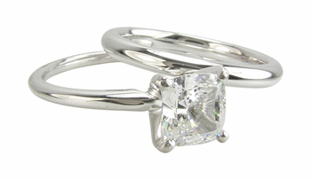 Cushion Cut Square Cubic Zirconia Classic Solitaire Engagement Rings With Matching Wedding Bands