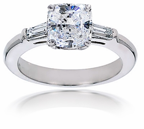 Cushion Cut Square Cubic Zirconia Baguette Solitaire Engagement Rings
