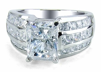 Dakota 4 Carat Emerald Cut Three Row Princess Cut Channel Ring