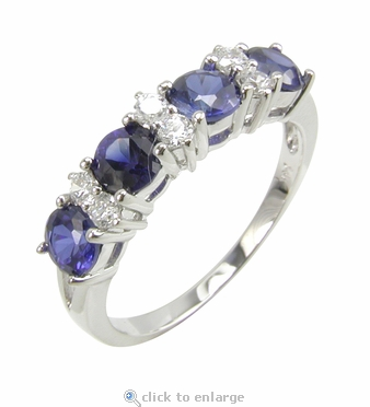 Daniella alternating man made sapphire and cubic zirconia for Man made sapphire jewelry