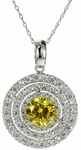 Darby Triple Halo Pave Set Round Cubic Zirconia Simulated Canary Diamond Pendant