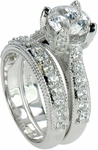 Davina 2 Carat Round Cubic Zirconia Wedding Set with Matching Band
