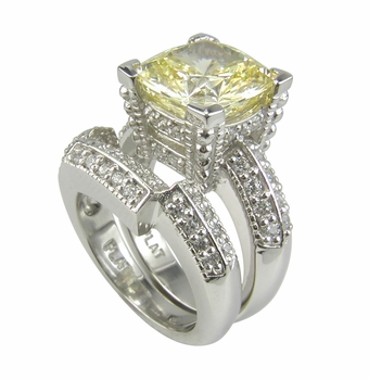 Decadence Cushion Cut Cubic Zirconia Wedding Set with Pave Contoured Band