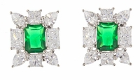 Deline Emerald Princess Cut Pear Cubic Zirconia Cluster Earrings