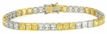 Delizia Two Tone Alternating Canary Cubic Zirconia Channel Set Princess Cut Tennis Bracelet