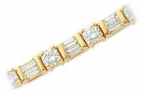 Delmar .25 Carat Each Round Cubic Zirconia Alternating Baguette Bracelet Small Version