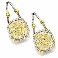 Deloite 8.5 Carat Cushion Cut Cubic Zirconia Pave Halo Drop Earrings