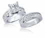 Delphinia 2.5 Carat Princess Cut Channel Set Cubic Zirconia Bridal Wedding Set