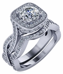 Devi 1 Carat Round Square Halo Pave Braided Woven Shank Bridal Wedding Set