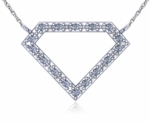 Diamond Shape Pave Set Cubic Zirconia Necklace