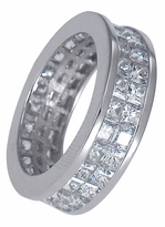 Double Row Channel Set Cubic Zirconia Princess Cut Eternity Band