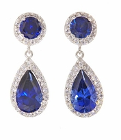 Dutchess 1.5 Carat Pear Lab Created Sapphire Pave Cubic Zirconia Halo Drop Earrings