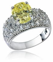 Dynasty 2.5 Carat Oval Cubic Zirconia Pave Domed Solitaire Engagement Ring