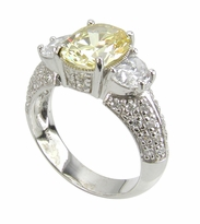 Eclipse 2.5 Carat Oval Cubic Zirconia Half Moon Pave Solitaire Engagement Ring