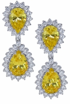 Ecstasea Canary Pear Cubic Zirconia Cluster Halo Drop Earrings