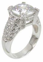 El Tourneau 3.5 Carat Round Cubic Zirconia Pave Encrusted Cathedral Solitaire Engagement Ring