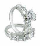 Elante 1.5 Carat Round Cubic Zirconia Princess Cut and Double Baguette Wedding Set