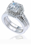 Elegant Asscher 4 Carat Cubic Zirconia Pave Halo Bridal Wedding Set
