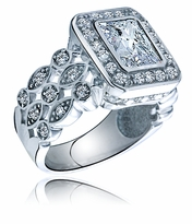Elektra 2.5 Carat Radiant Emerald Cut Cubic Zirconia Pave Halo Solitaire Engagement Ring