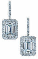 Emaderra 4 Carat Emerald Step Cut Cubic Zirconia Pave Halo Drop Earrings