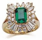 Emerald Cut 2.5 Carat Cubic Zirconia Round and Baguette Halo Cluster Ballerina Ring