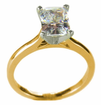 Emerald Cut Cubic Zirconia Cathedral Solitaire Engagement Rings