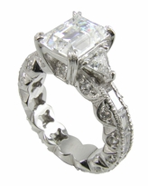 Emerill Eternity 2.5 Carat Emerald Cut Cubic Zirconia Trillion Solitaire Engagement Ring