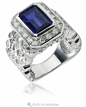 Emma 4 Carat Emerald Cut Bezel Set Pave Halo Cubic Zirconia Ring