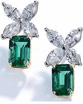 Empassio 4 Carat Emerald Step Cut Cubic Zirconia Marquise Earrings