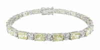 Emro Alternating 1 Carat Each Emerald Radiant Cut Cubic Zirconia .50 Carat Each Round Bracelet
