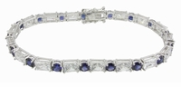 Emro II Alternating Emerald Cut Cubic Zirconia Lab Created Sapphire Round Bracelet