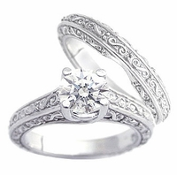 Engraved 1 Carat Round Cubic Zirconia Trellis Luccia Bridal Set with Matching Band