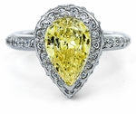 Erika 3 Carat Canary Pear Cubic Zirconia Pave Set Halo Eternity Solitaire Engagement Ring