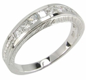 Estate Style Channel Set Princess Cut Cubic Zirconia Engraved Anniversary Band