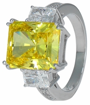 Estelle 7 Carat Emerald Radiant Cut Canary Cubic Zirconia Three Stone Engagement Ring