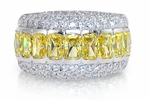 Evanna .50 Carat Each Canary Emerald Cut Cubic Zirconia Pave Eternity Band
