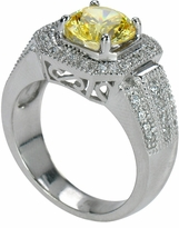Evita 2.5 Carat Round Canary Cubic Zirconia Pave Halo Solitaire Engagement Ring