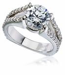 Fassimo 1.5 Carat Round Cubic Zirconia Micro Pave Split European Shank Solitaire Engagement Ring