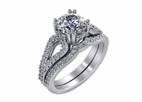 Fiorella 1.5 Carat Round Double Prong Set Pave Split Shank Cathedral Pave Wedding Set