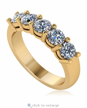 Five Stone .50 Carat Each Round Shared Prong Set Cubic Zirconia Anniversary Band