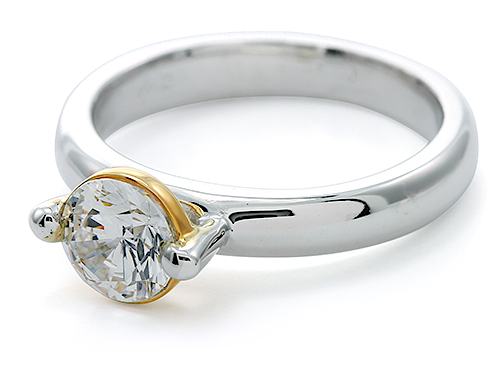 Floating Bezel Set 1 Carat Cubic Zirconia Round Two Tone