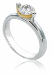 Floating Bezel Set 1 Carat Cubic Zirconia Round Two Tone Solitaire Engagement Ring
