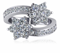 Flower Pave Set Cubic Zirconia Bypass Ring