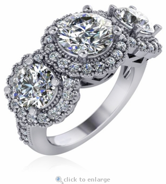 Floweret Three Stone Round 1.5 Carat Center Cubic Zirconia Halo Anniversary Ring