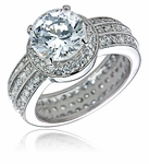 Fortunato 3.5 Carat Round Cubic Zirconia Halo Eternity Band Micro Pave Solitaire Ring