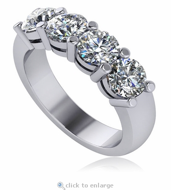 Four Stone .50 Carat Each Round Shared Prong Set Cubic Zirconia Anniversary Band